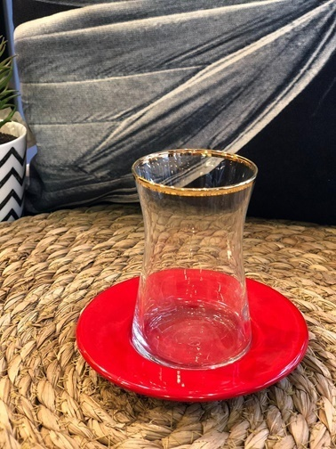 Naturel Galvaniz Derin Çay Tabağı 11.5 Cm Kırmızı Kırmızı